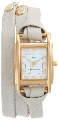 La Mer Collections 'Milwood' Leather Wrap Watch, 35mm