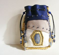 VISIONS deerskin leather Medicine Bag / Spirit Pouch with Kyanite, Iolite, Rutilated Quartz, Yellow Jade