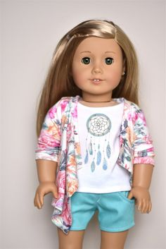 Floral Cardigan American Girl doll Clothes
