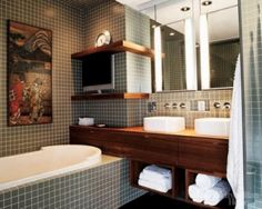 gray mosaic tiles for this practical bathroom inspiration