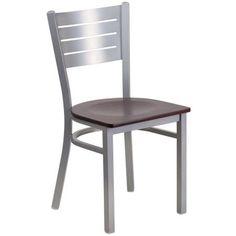Flash Furniture Hercules Series Silver Slat Back Metal Restaurant Chair, Mahogany Wood Seat, Brown