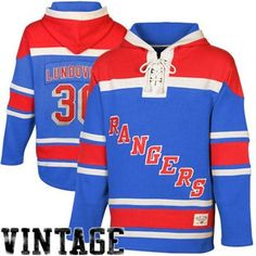 reputable site 59828 0cc6d Mens New York Rangers Henrik Lundqvist Old Time Hockey Royal Blue Red  Sawyer Hoodie Rangers