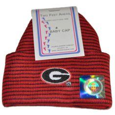 Georgia Bulldogs Two Feet Ahead Infant Baby Red Striped Knit Beanie Hat Cap