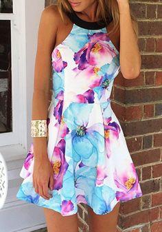 Multicolor Flowers Print Backless Round Collar Sleeveless Dress