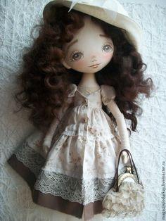 Купить Кукла Эмма - бежевый, кукла ручной работы, кукла в подарок, кукла интерьерная