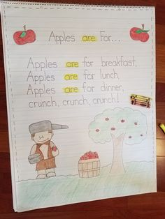 September is here! When I make my plans for September, they always include apples. Apple science, apple math, AND apple reading and writi. Preschool Poems, Fall Preschool, Preschool Centers, Poetry Anchor Chart, Reading Anchor Charts, Kindergarten Apples, Kindergarten Science, First Grade Lessons, Poetry For Kids