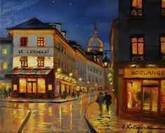 "Daily Paintworks - ""Corner Shop in Paris"" by Elena Katsyura"