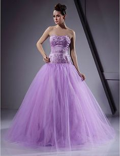 Ball Gown Sweetheart Floor-length Satin Tulle Prom/Evening Dress