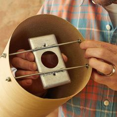 DIY Lamp Shade idea Glue the switch plate to the threaded rods