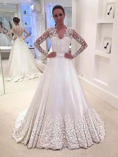 786e59ac059a A-Line Princess V-neck Satin Long Sleeves Sweep Brush Train Wedding Dresses  - Plus Size Wedding Dresses - Wedding Dresses - Hebeos Online