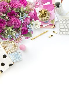 Pink, black and white styled desktop stock image styled and photographed by Shay Cochrane (www.shaycochrane.com). Styled stock photography for small businesses www.scstockshop.etsy.com