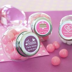 Our most popular sweet sixteen party favors! Everything about a sweet 16 should be sweet! We make it even sweeter with our adorable treat. Sweet 16 Party Favors, Candy Party Favors, Candy Theme, Sweet 15, Quinceanera Party Favors, Quinceanera Ideas, Glass Candy Jars, Sweet 16 Birthday, Birthday Ideas