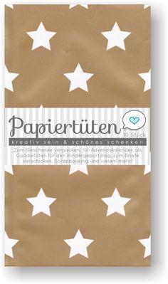 Mittlere Papiertüten gold mit weißen Sternen, 12 x 19 cm - 2,49€