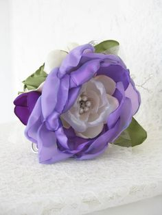 Purple Flower Wrist Corsage. Wedding Flower Accessory. Wedding Wrist Corsage. Prom Wrist Corsage. Purple, Lavender & Green Flowers. $47.95