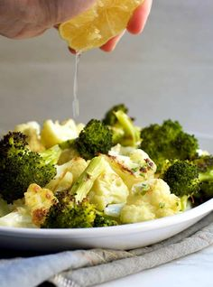 How to make PERFECT Roasted Broccoli and Cauliflower and the step you should skip that most recipes call for. Can you guess what it is? Paleo Cauliflower Recipes, Roast Broccoli And Cauliflower, Roasted Broccoli Recipe, Roasted Vegetables, Veggies, Charred Broccoli, Best Paleo Recipes, Primal Recipes, Side Dish Recipes