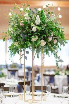 Spring Garden Wedding, Tall Centerpieces on gold stands, Tall greenery centerpieces, square gold stands, navy and blush wedding flowers, Tall arrangements, Florals: Wildflowers LLC, Photography: Lindsey Fisher #weddings #weddingflowers #floral #centerpiec