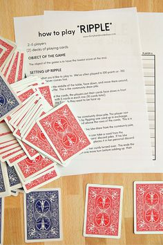 Looking for card games to play? Try this fun one called Ripple out! Printable instructions and score sheet included below.