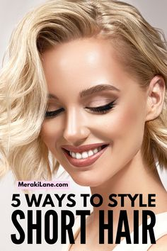 5 Super Easy Short Hair Hairstyles | Just cut your hair? Growing it out for the first time? Don't stress! Whether you have straight, wavy, or curly hair, this post will teach you how to create beautiful hairstyles, from sexy beach waves, to a super easy crown braid, to a low bun, to cute and easy half up half down styles and more! We've also included the best drugstore hair products for short hair and tons of tips and techniques to teach you how to style short hair like a professional! Scarf Hairstyles, Curled Hairstyles, Easy Hairstyles, Straight Hairstyles, Living Proof Dry Shampoo, Anti Frizz Spray, Hair Growing, Short Hair Styles Easy, Beautiful Hairstyles