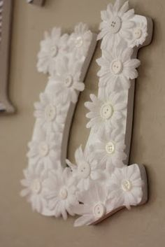 maybe using bright colors or nursery theme colors as baby gift idea Girls Flower Bedroom, Crafts For Kids, Diy Crafts, Letters For Kids, Nursery Themes, Nursery Ideas, Little Girl Rooms, Nursery Neutral, Dorm Decorations