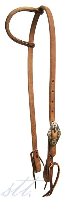 """STT Premium 5/8"""" Slide Ear Headstall w/Silver and Copper Floral Buckle -- This headstall is simple, but so elegant and pretty. This is a headstall that will never go out of style. 