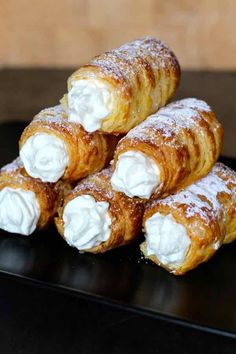 czech food Kremrole is a deliciously crispy roll Kremrole is a deliciously crispy roll-shaped puff pastry that is filled with meringue or whipped cream that is popular in the Czech Republic, Austria, Germany and Slovakia. Czech Desserts, Köstliche Desserts, Delicious Desserts, Dessert Recipes, Yummy Food, Puff Pastry Desserts, Puff Pastry Recipes, Austrian Recipes, Croatian Recipes