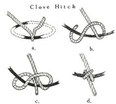 clove hitch knot for 8 way spring tie for furniture making