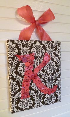 HOT PINK or CORAL Button Letter Wall Art por letterperfectdesigns, $60.00