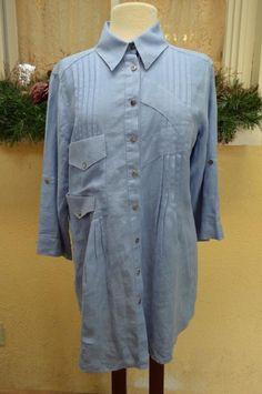 Soft Surroundings Pleated Linen Poet Blouse Shirt M Boho Comfy Fun Cute Jeans #SoftSurroundings #PoetTunicBlouse #Casual