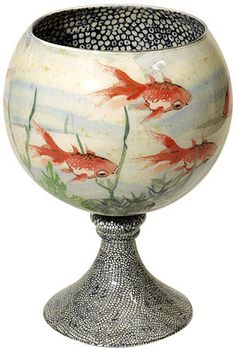 John Derian's decoupaged fish bowl.