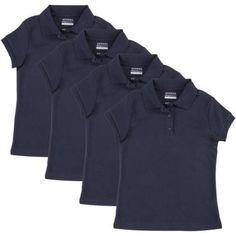 George Girls School Uniforms Short Sleeve Polo Shirts, 4-Pack Value Bundle, Sizes 4-18 (XS-XXL), Size: 2XL (18), Blue
