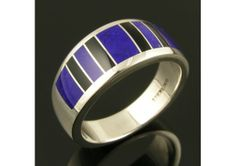 Man's Lapis and Black Onyx Ring in Sterling Silver - TheWeddingMile.com