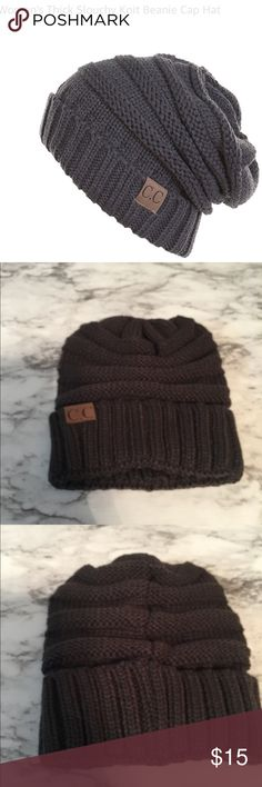 Thick slouchly knit unsex Beanie Cap Hat Charcoal thick Slouchy cable knit . Unisex Beanie . 100% acrylic. Good for men & women . NWOT cc Accessories Hats