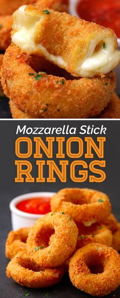 You Should Make For Game Day Combine the two most popular appetizers, mozzarella sticks and onion rings together to make your fans go crazy!Combine the two most popular appetizers, mozzarella sticks and onion rings together to make your fans go crazy! I Love Food, Good Food, Yummy Food, Awesome Food, Fingers Food, Appetizer Recipes, Party Appetizers, Snack Recipes, Cake Recipes