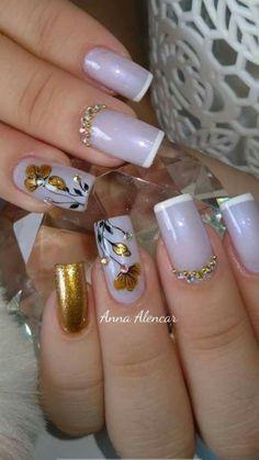 New nails verano pies ideas Gold Acrylic Nails, Rose Gold Nails, Acrylic Nail Designs, Nail Art Designs, Wedding Nails Design, Luxury Nails, Flower Nail Art, Super Nails, Fabulous Nails