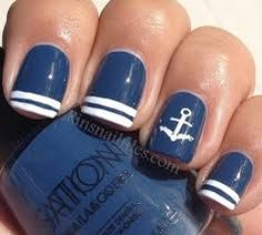 Get ready for summer with these cute and easy to DIY nail art designs. gotta do nautical nails soon! Love Nails, How To Do Nails, Pretty Nails, Sinful Colors, Nail Colors, Nautical Nail Art, Nautical Theme, Nautical Anchor, Navy Anchor