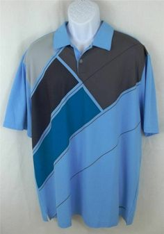 NIKE DRI-FIT Blue Short Sleeve Geo Polo Rugby Shirt Mens Size EXTRA LARGE XL #Nike #PoloRugby