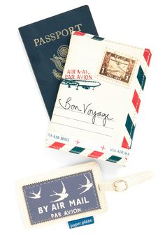 Seine Me a Postcard Travel Set by Disaster Designs - White, Red, Blue, Novelty Print, Travel $34.99