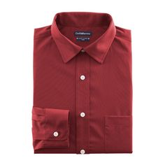 Men's Croft & Barrow® Fitted Solid Easy Care Spread-Collar Dress Shirt, Dark Red