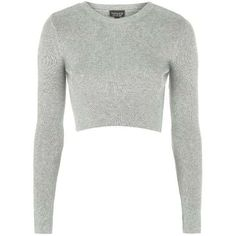 Steal Selena Gomez's Starbucks Topshop Ribbed Crew Neck Cropped... ❤ liked on Polyvore featuring tops