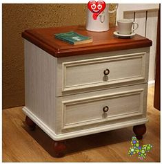 HXSD Solid Wood Foot Bedside Table Bedside Table Cabinet Bedroom Side Cabinet Furniture, White + Red Brown [Double Pumping Storage Bedside Table], Durable and Practical (Color : BrownWhite)<br> Solid Wood Cabinets, Single Chair, Sofa Colors, Hillsdale Furniture, Sofa Styling, Space Saving Furniture, Cabinet Furniture, Furniture Manufacturers, Bedside