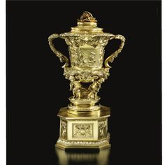 A GEORGE IV SILVER-GILT PRESENTATION TWO-HANDLED CUP, COVER AND PLINTH, JOHN EDWARD TERREY FOR J.E. TERREY & CO., LONDON,1826.