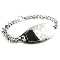Stainless Steel Curb Chain (Non-Allergenic) My-Identity-Doctor specializes in custom engraved medical ID jewelry.  Because our custom engraved medical alert bracelets are engraved with BLACK font, they are very easy to read and highly visible. In times of emergencies this custom engraving on our medical bracelets may help to save your life or the life of someone you love.