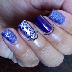 """My Manicure: Simple Sunday  Purple is ONE of my favourite hues, What I use as I combat Sunday blues, Simple painting and simple stamp, With a darkly…"""