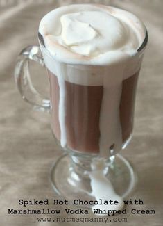 Spiked Hot Chocolate with Marshmallow Vodka Whipped Cream. Marshmallow vodka, really? Sounds like a major headache to me, but warm on a cold day Cocktail Drinks, Fun Drinks, Yummy Drinks, Cocktails, Beverages, Cocktail Recipes, Alcoholic Drinks, Spiked Hot Chocolate, Hot Chocolate Recipes