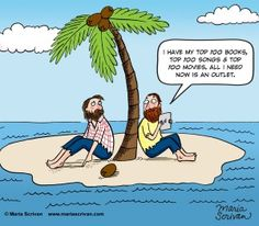 What comic books would you want if you were stuck on a deserted island? Castaway Island, Garfield Cartoon, Top 100 Songs, Tech Humor, Good Morning Funny, Funny Memes, Jokes, Serious Business, Political Satire