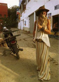 Maxi skirt #blonde #hippie