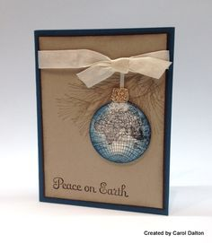 handmade Christmas/New Year's card ... kraft base ... bauble with world map ... like the shading for round depth look ... simply beautiful!! ... Stampin' Up!