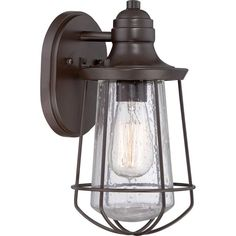 """View the Quoizel MRE8406 Marine 1 Light 12"""" Tall Outdoor Wall Sconce with Seedy Glass and Vintage Edison Bulb at Build.com."""