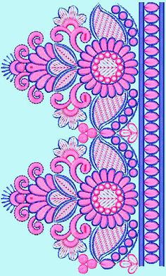 Superb Embroidery Design For Attractive Lace 15405 Embroidery Designs Free Download, Border Embroidery Designs, Embroidery Flowers Pattern, Embroidery Works, Hand Embroidery Designs, Diy Embroidery, Stencil Patterns, Textile Patterns, Hand Work Blouse Design
