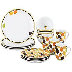 Serve up fall fodder on these cuties.Rachael Ray Little Hoot 16-Piece Dinnerware Set - #3K822   Lamps Plus